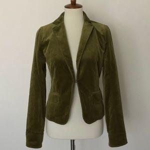 J Crew velvet Ecole blazer, olive green